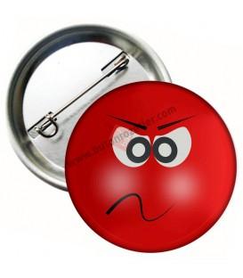 Kırmızı Asabi Emoji  Metal Rozet 44 mm
