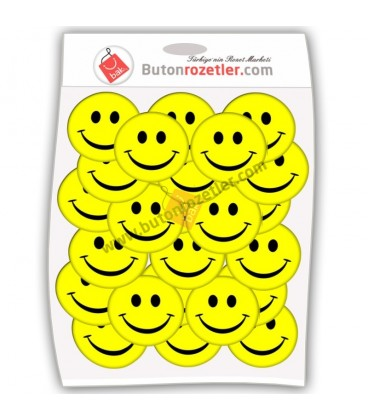 Gülen Yüz 44 mm  İğneli Metal Rozet Paket Sarı 20'Li