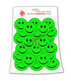 Gülen Yüz 44mm  İğneli Metal Rozet Paket Yeşil  20 li