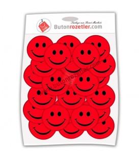 Gülen Yüz 44 mm  İğneli Metal Rozet Paket Kırmızı 20 li