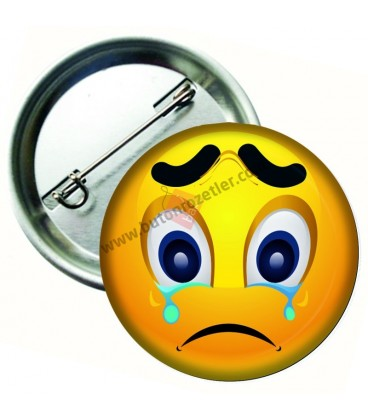 Ağlayan Yüz İfadeli Emoji Metal Rozet 44 mm
