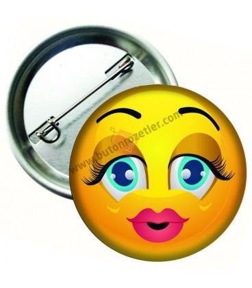 Sirin Kız Yüz  İfadeli Metal İğneli Rozet 44 mm