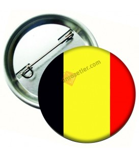 Belçika Bayrağı  İğneli Metal 58 mm Rozet