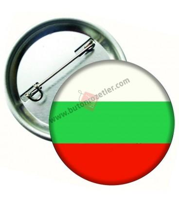 Bulgaristan  Bayrağı  İğneli Metal 58 mm Rozet