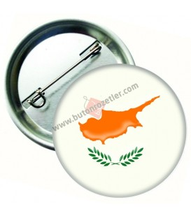 Kıbrıs Cumhuriyeti Bayrağı  İğneli Metal 58 mm Rozet