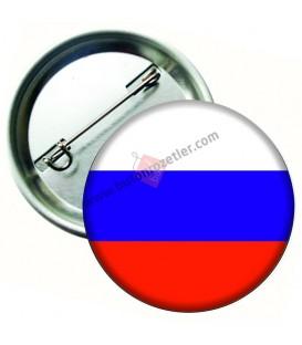 Rusya  Bayrağı  İğneli Metal 58 mm Rozet