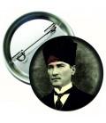 Atatürk Kalpaklı Siyah Beyaz Yaka Rozetleri