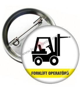 Forklift Operatörü Personel Yaka Rozeti 58 mm