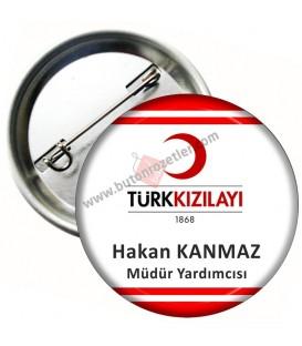 Türk Kızılayı Logolu Personel Yaka Rozeti 58 mm