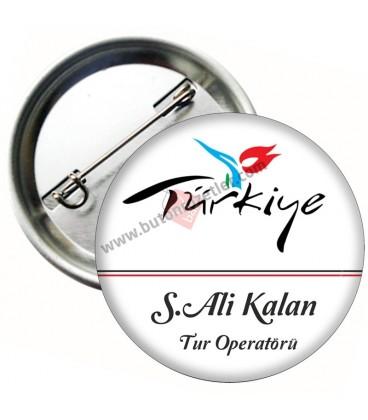 Türkiye Logolu Tanıtım Yaka İsimlik Rozet 58 mm