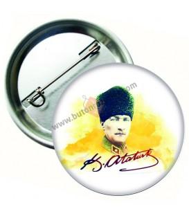 Atatürk Kalpaklı ve İmzalı Yaka Rozeti