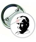 Atatürk Portresi Çizim ve İmzalı Rozet