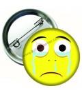 Ağlayan Yüz İfadeli Smiley Rozetler 44 mm