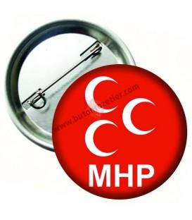 MHP Logolu İğneli Metal Yaka Rozeti 44 mm