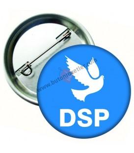 DSP Logolu İğneli Metal Yaka Rozeti 44 mm