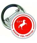 DYP Logolu İğneli Metal Yaka Rozeti 44 mm