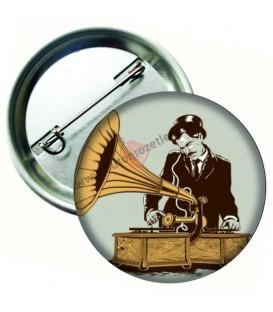 Gramofon Retro Tarzı Buton Rozet 58 mm