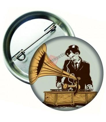 Gramofon Retro Tarzı Buton Rozet 75 mm