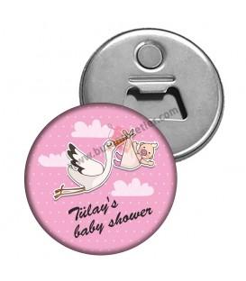 İsme Özel Babyshower's Leylek Temalı Hediyelik Magnet Açacak