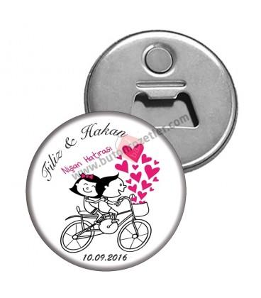 Nişan Hatırası Bisiklet  Figürlü Magnet Açacak