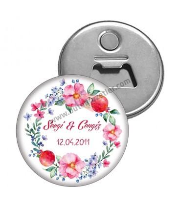 Magnet Açacak Floral Nikah Hatırası