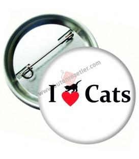 I love Cats Hayvan Sevgisi Rozeti