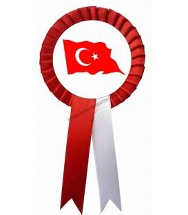 Türk Bayrağı Yaka Kokartı Dalgalı