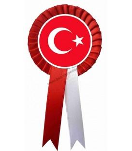 Türk Bayrağı  Saten Yaka Kokartı