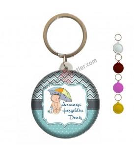 Hoş geldin Bebek Şemsiye Figürlü Anahtarlık