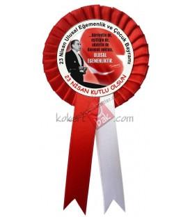 Atatürk Görselli 23 Nisan  Yaka Kokartı