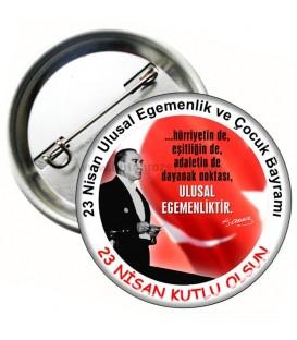 23 Nisan Atatürk Görselli Rozet