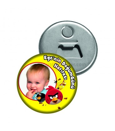 Angry Birds Fotoğraflı Doğum Günü Magnet Açacak
