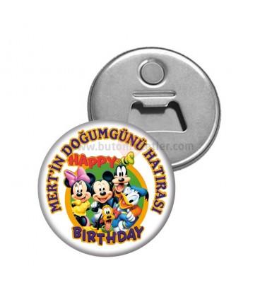 Mickey Mouse Temalı  Dogumgünü Hatırası Magnetl Açacak