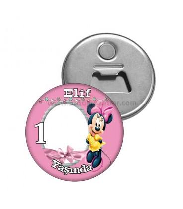 Minnie Mouse Temalı 1 Yaş Fotoğraflı Magnet Açacak