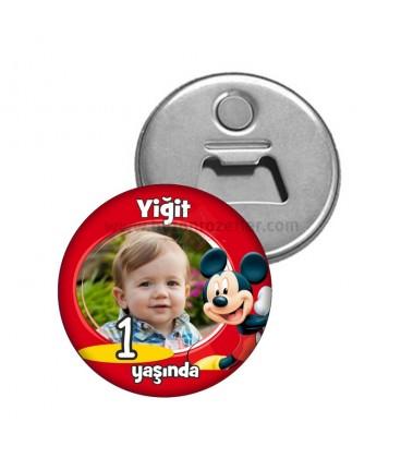 Mickey  Mouse Görselli   1 Yaş Dogumgünü Magnetl Açacak