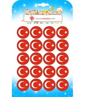 Türk  Bayrağı  Rozeti 44 mm 250 li