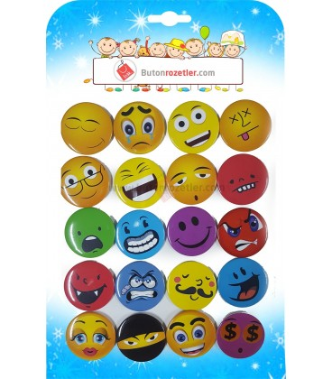 Similey Emoji Rozetler 44 mm