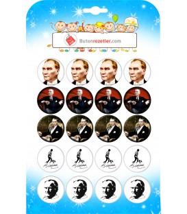 Atatürk İğneli Yaka Rozetleri 44 mm 20 li