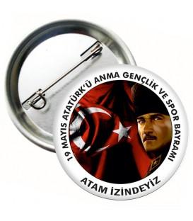 Atatürk Görselli 19 Mayıs Rozetleri