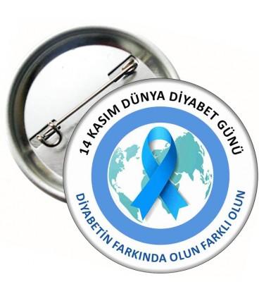 14 Kasım Diyabet Günü İğneli Rozet